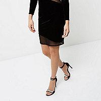 Black velvet wide fit embellished sandals