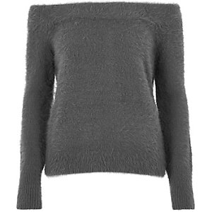 Charcoal grey fluffy bardot jumper