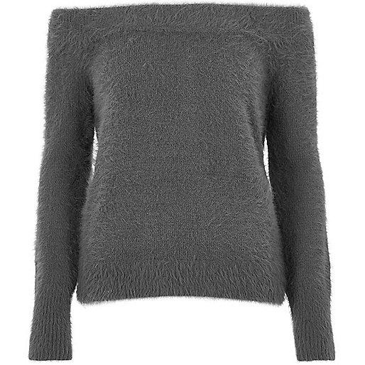 Charcoal grey fluffy bardot jumper