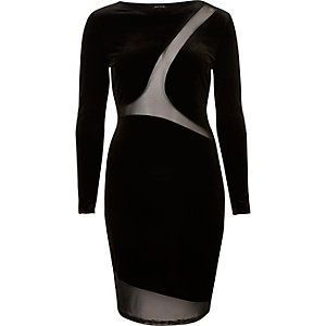 Black velvet mesh panel bodycon dress