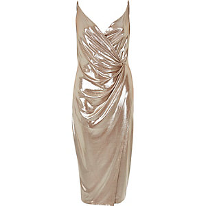 Metallic nude wrap dress