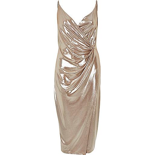 Metallic nude wrap dress