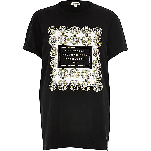 Black 'Manhattan' print boyfriend T-shirt