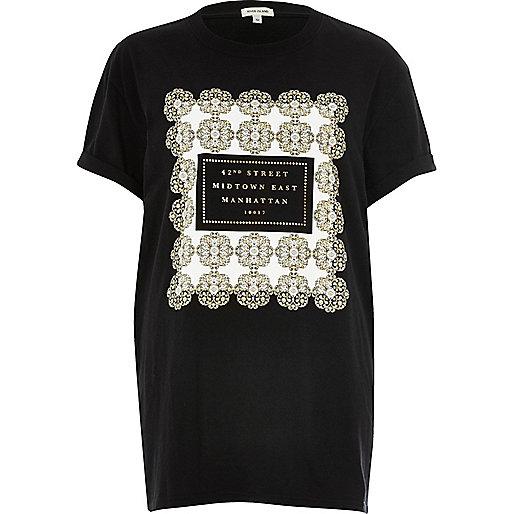 T-shirt boyfriend imprimé « Manhattan » noir