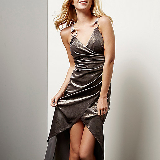 Silver velvet ruched wrap dress