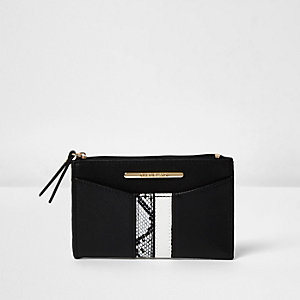 Black snakeskin panel mini coin pouch