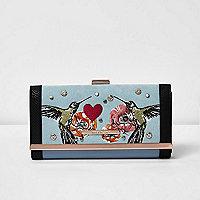 Blue embellished bird print clip top purse