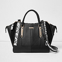 Black dipped top winged tote bag