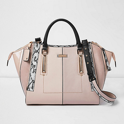 Light pink dipped top winged tote bag