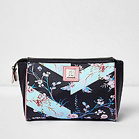 Black floral print make-up wash bag