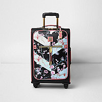Schwarzer Koffer mit Blumenmuster
