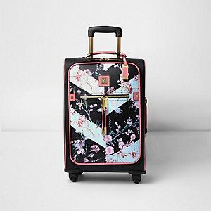 Black floral print suitcase