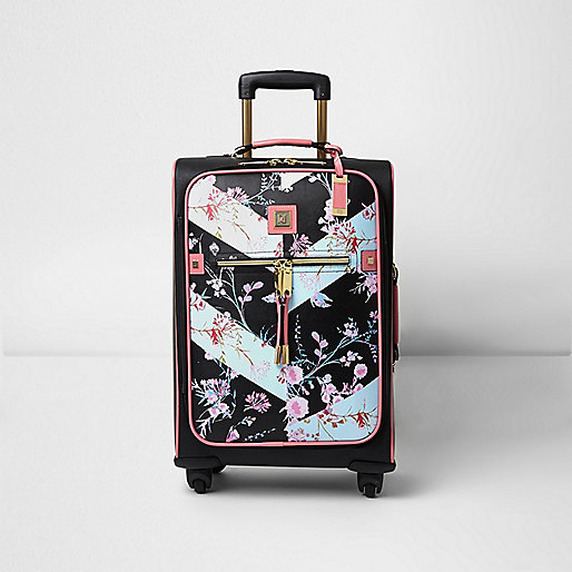 Valise noire à fleurs
