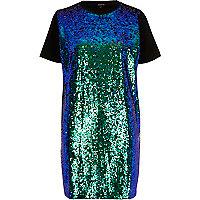 Türkises, paillettenverziertes Oversized-T-Shirt-Kleid