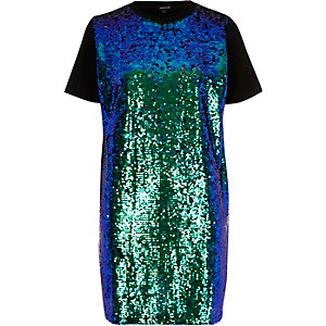 Turquoise sequin oversized T-shirt dress