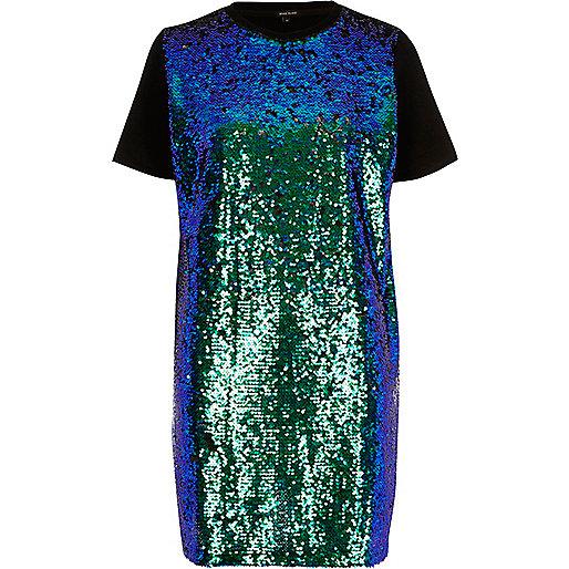 Robe t-shirt turquoise oversize ornée de sequins