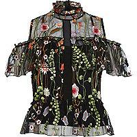 Black embroidered frill cold shoulder top