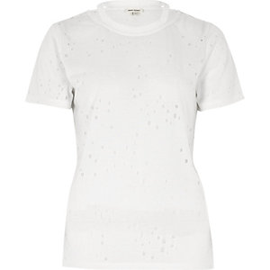White strap neck holey T-shirt