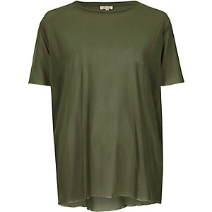 Khaki green oversized mesh T-shirt