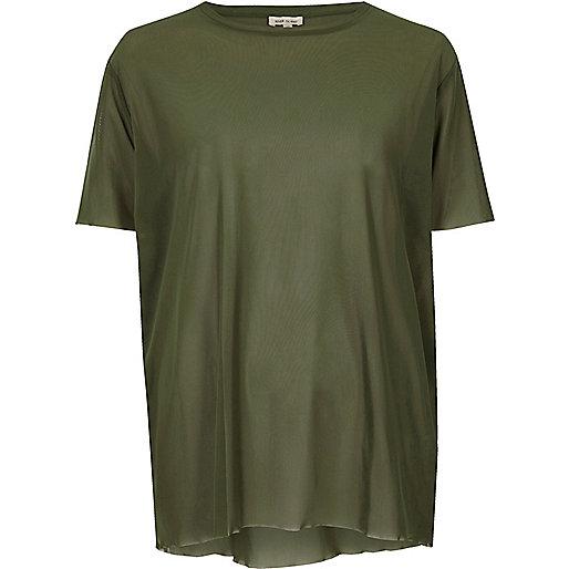 Khaki green oversized mesh T-shirt
