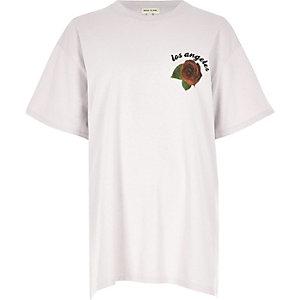 Light grey rose print boyfriend T-shirt