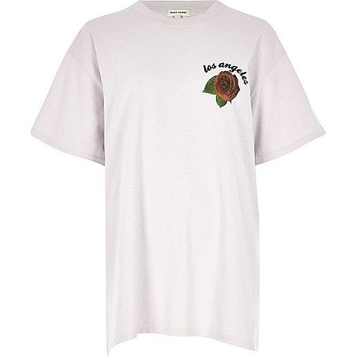 T-shirt boyfriend gris clair imprimé rose