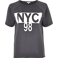 Grey 'NYC' print T-shirt