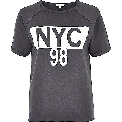 Grey 'NYC' print T-shirt