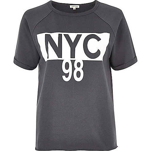 Graues T-Shirt mit NYC-Muster
