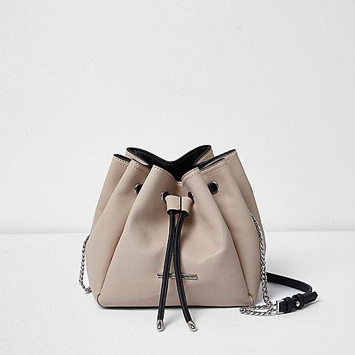 Cream panel drawstring duffel bag