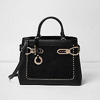 Black western stud large tote bag