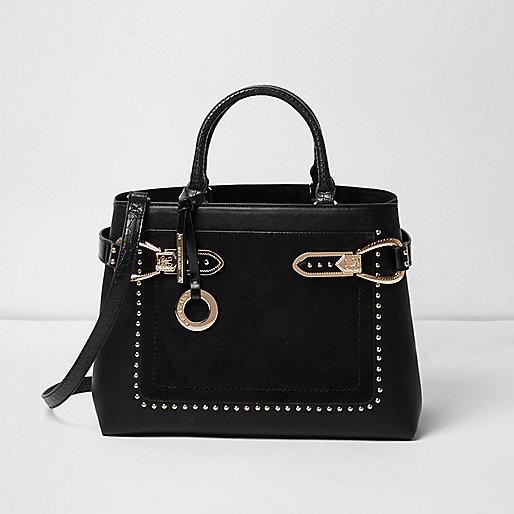 Schwarze, große Tote Bag mit Nieten
