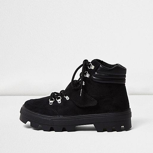 Black suede hiker boots