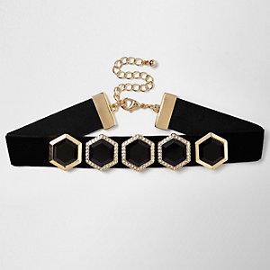 Black velvet hexagon jewel choker
