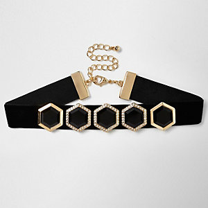 Collier ras du cou en velours noir à pierre hexagonale