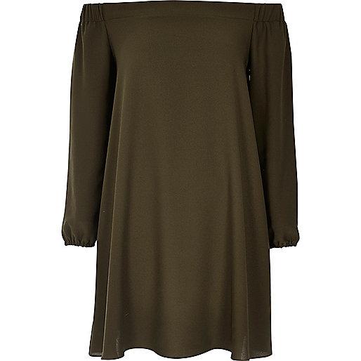 Bardot-Swing-Kleid in Khaki