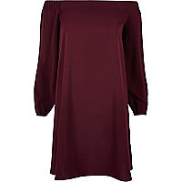 Dark purple bardot swing dress