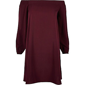 Dark purple bardot swing dress