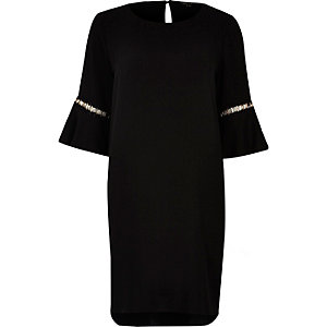 Black bell sleeve swing dress