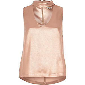 Rose gold satin choker top