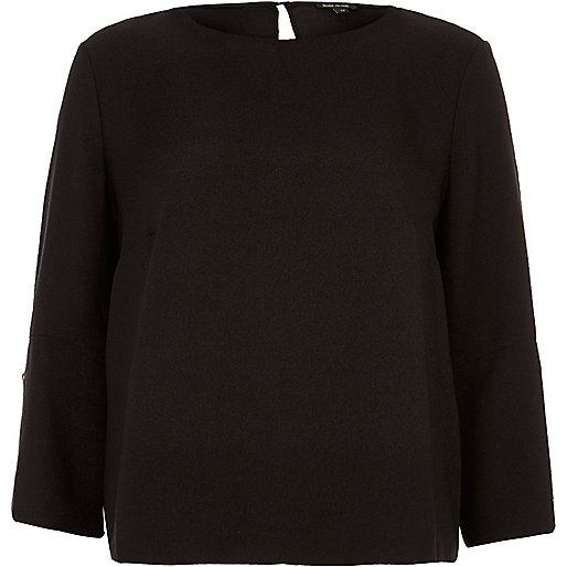 Black button sleeve top