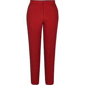 Pantalon tissé rouge coupe slim