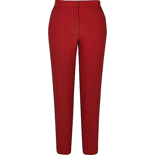Red slim fit woven trousers