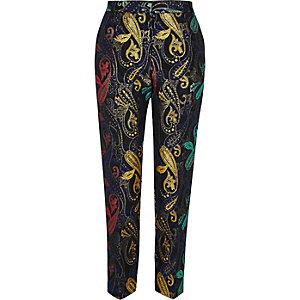 Pantalon slim en jacquard métallisé