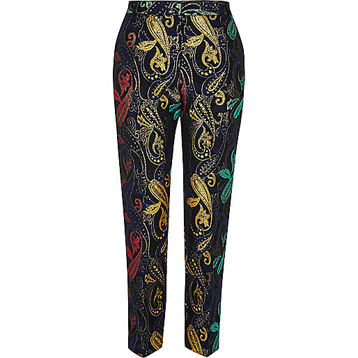 Blue jaquard print pants