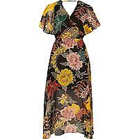 Black floral print chiffon cape midi dress
