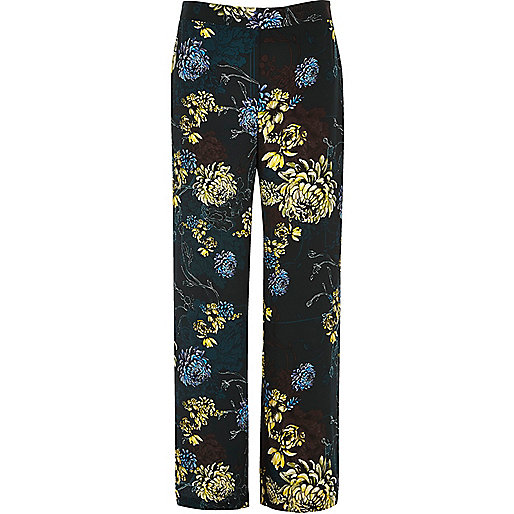 Blue floral print wide leg pants