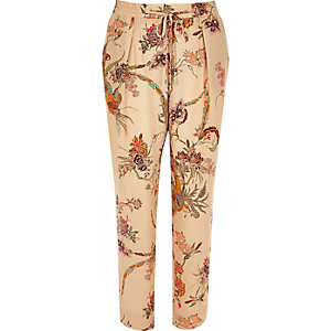 Pink floral print soft tapered trousers