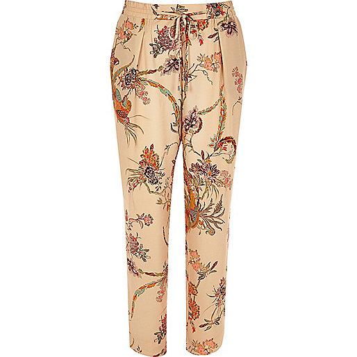 Pantalon fuselé doux imprimé fleuri rose