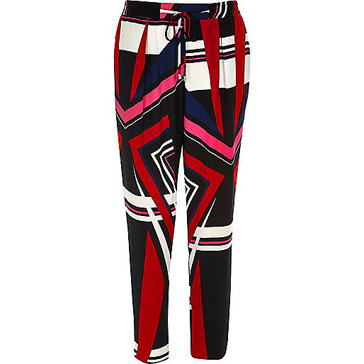 Red print soft tapered trousers